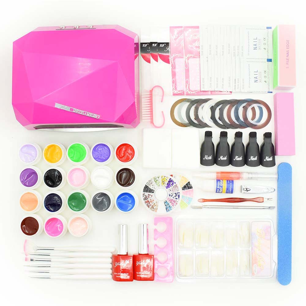nail art set 36W UV LED LAMP dryer & 18 colors nail gel with base gel top coat nail polish varnish manicure tool sets kits nail art kits manicure set 36w uv lamp dryer nail 5 colors soak off gel nail polish varnish base top coat polish files tools