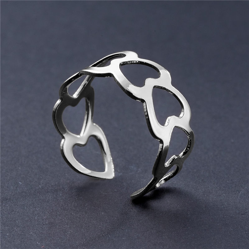 19 New Fashion Silver Hollow Heart-Shaped Opening Ring For Women Punk Alloy Finger Rings Simple Boho Jewelry 5