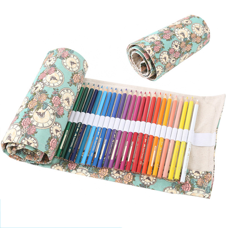 Creative 36/48/72 Holes Color Pencil Case Canvas Roll Pouch Makeup Cosmetic Brush Pen Storage Box Bag School Stationery retro stripe pencil pen case cosmetic pouch pocket brush holder makeup bags life style pencil bag pen box