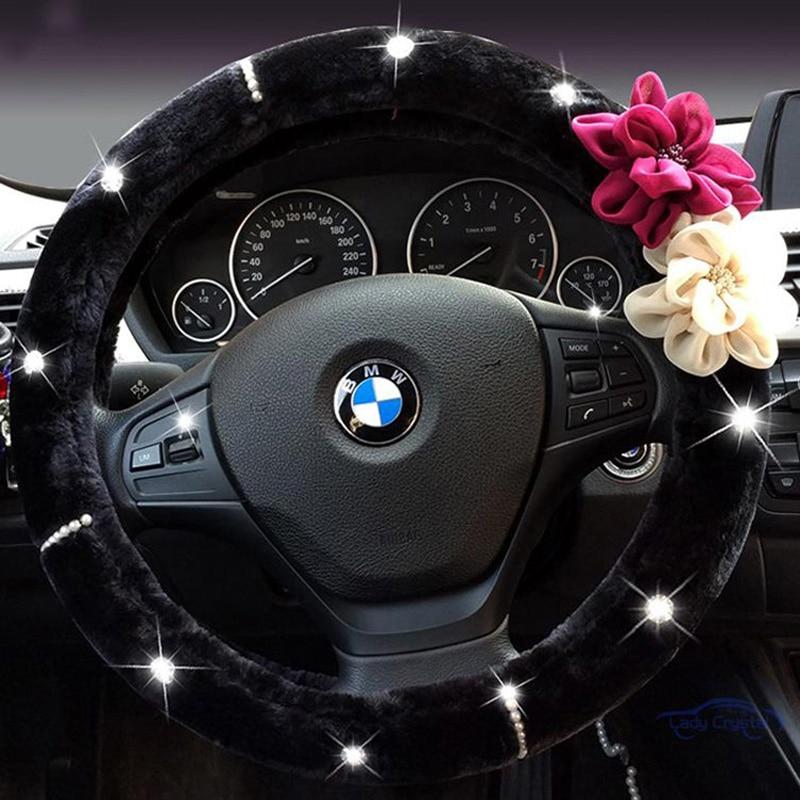 Flor color de rosa de cristal Auto volante invierno de felpa piel - Accesorios de interior de coche - foto 1