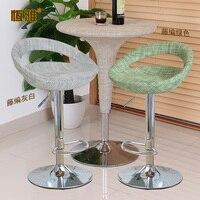10%Bar table chair bar stool modern minimalist rotating lift chair rattan cash register front desk high stool