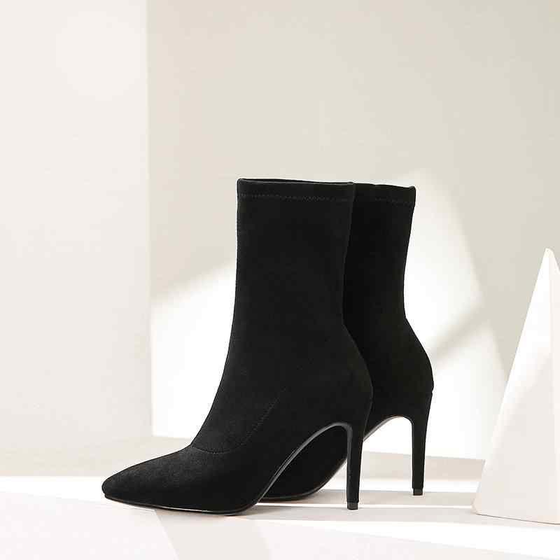 El yapımı akın sivri burun yüksek topuklu kadın orta buzağı botları katı parti moda streç çizmeler zarif tutmak sıcak kış ayakkabı L2f1
