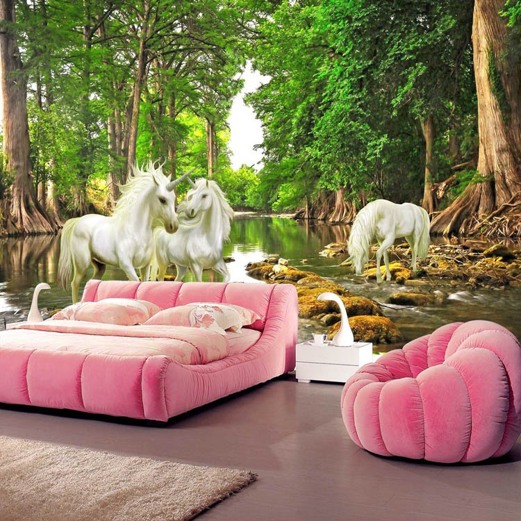 Buy unicorn brook trees wallpaper custom for 3d mural wallpaper for bedroom