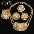 Moda Grande Colar de Pingente de Flor Brinco Anel Pulseira Da Moda Dubai Banhado A Ouro Africano Nigeriano Contas de Casamento Conjunto de Jóias