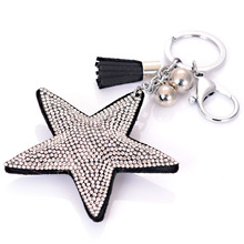 Unique design full pave crystal rhinestone star and tassle charm keychain key holder for women gift jewelry K1402