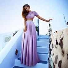 Ziemlich Zwei Stück Perlen Spitze Brautkleider Lila Abendkleid mit Ärmeln Lange Satin Mädchen Abendkleider Günstige Party Kleider RT29