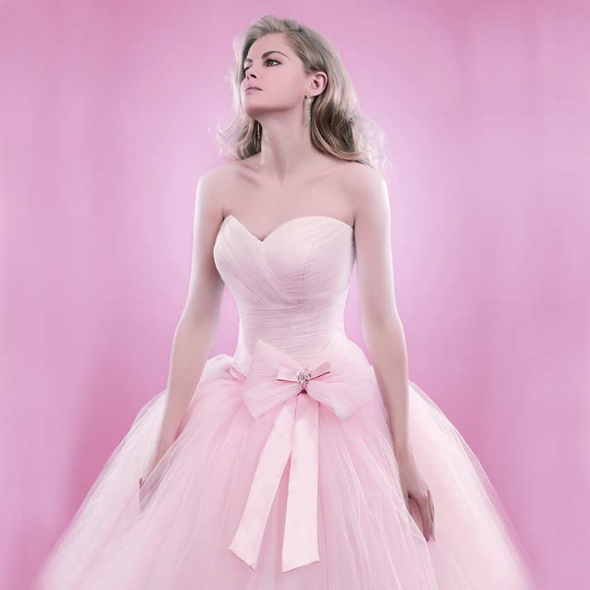 Women 2016 Custom Made Pink Tulle Bow Beading Sexy