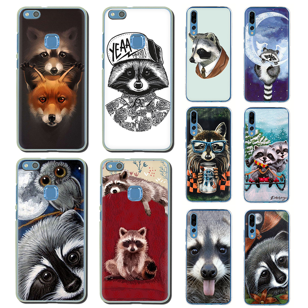 Cute raccoon Hard phone cover for Huawei <font><b>Honor</b></font> 6A 6C 7A 7C 7X 8 8X 8C <font><b>9</b></font> 10 <font><b>Lite</b></font> play view 20 9X Pro image