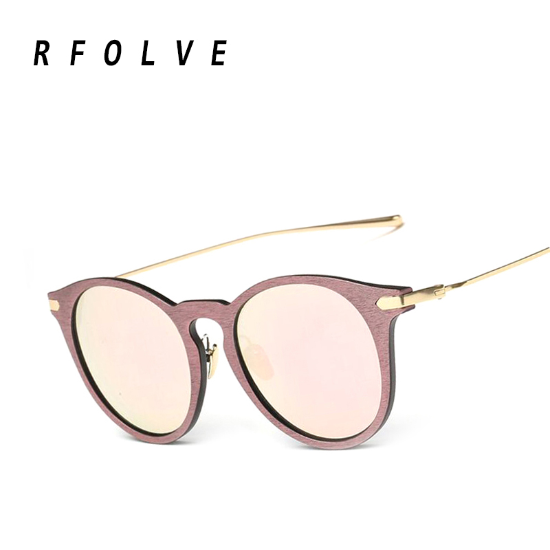 2016 newly round women sunglasses, fashion brand design Imitation wood frame sunglasses oculos de sol masculino