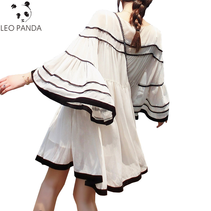 2019 Summer Sweet New Round Neck Plus Size Loose Casual Dress Women O neck Horn Sleeves