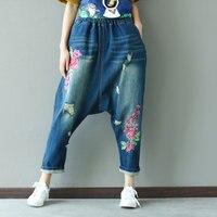 Vintage Hippie Boho Retro Czeski Floral Niższe Hafty Krocza Harem Spodnie Jeansowe damskie Spodnie W Pasie spodnie Krzyżowe