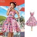 De Las Mujeres del verano Vestido de La Vendimia 50 s Rockabilly Pinup Pink Vestido Del Oscilación de Impresión Correa de Espagueti de Hojaldre Vestido de Festa