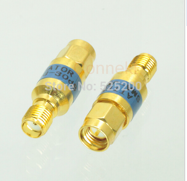 2pcs SMA 2W male to female RF Coaxial Attenuator DC - 6.0GHz 30dB 50ohm 2w sma rf blocking filter dc block connector dc 8g