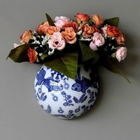Metope Ceramic Decorative Wall Vases Hanging Flower Receptacle Blue and White Porcelain Of Jingdezhen Ceramics