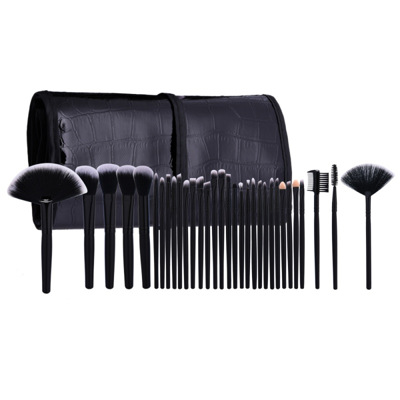 Pro Makeup Brushes 32 pcs Cosmetic Kit Eyebrow Blush Foundation Powder Make up Brush Set Maquiagem With Black Case микровуаль garden выс 290см сиреневый