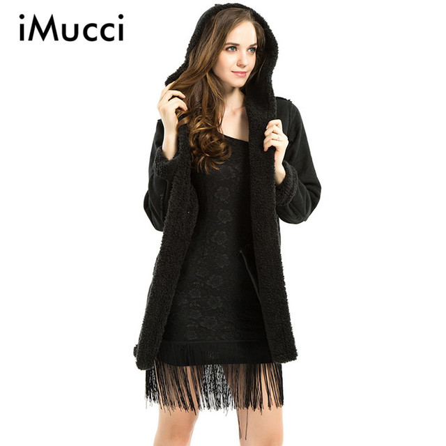 Fashion Tassel Cardigan Women Trench Coat 2016 Autumn Winter Long Sleeve Hooded Collar Black Coat Women Plus Size Trench Mujer