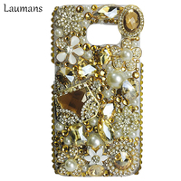Laumans Rhinestone Cases For Samsung Galaxy S5 Jewelled bag pearls Diamond Back Cover Phone Case for s6 s7edge s8 plus note5 7 8