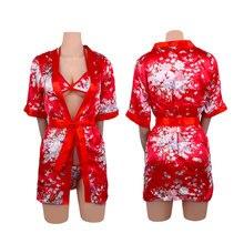 58d5f1dfc 1 Set Gown Bath Robe Babydoll Lingerie Nightdress Nightwear Sexy Costume  Pajamas With Bra Underwear Porn