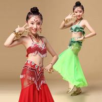 Quality Girls Belly Dance Shiny Indian Sari Girls Dress Orientale Enfant Indian Costumes For Kids Oriental Dance Costumes