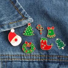 Broches de desenho animado de natal, meias fofas para árvore de papai noel