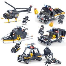 693Pcs Compatible LegoINGlys Military Swat Team City Police Trucks Cars Helicopter Building Blocks Sets Bricks Toys For Children(China)
