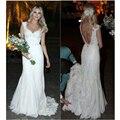 Vestido De Noiva Custom Made White/Ivory Appliques Sheath Chiffon Wedding Dresses V Neck Backless Garden Bridal Gown