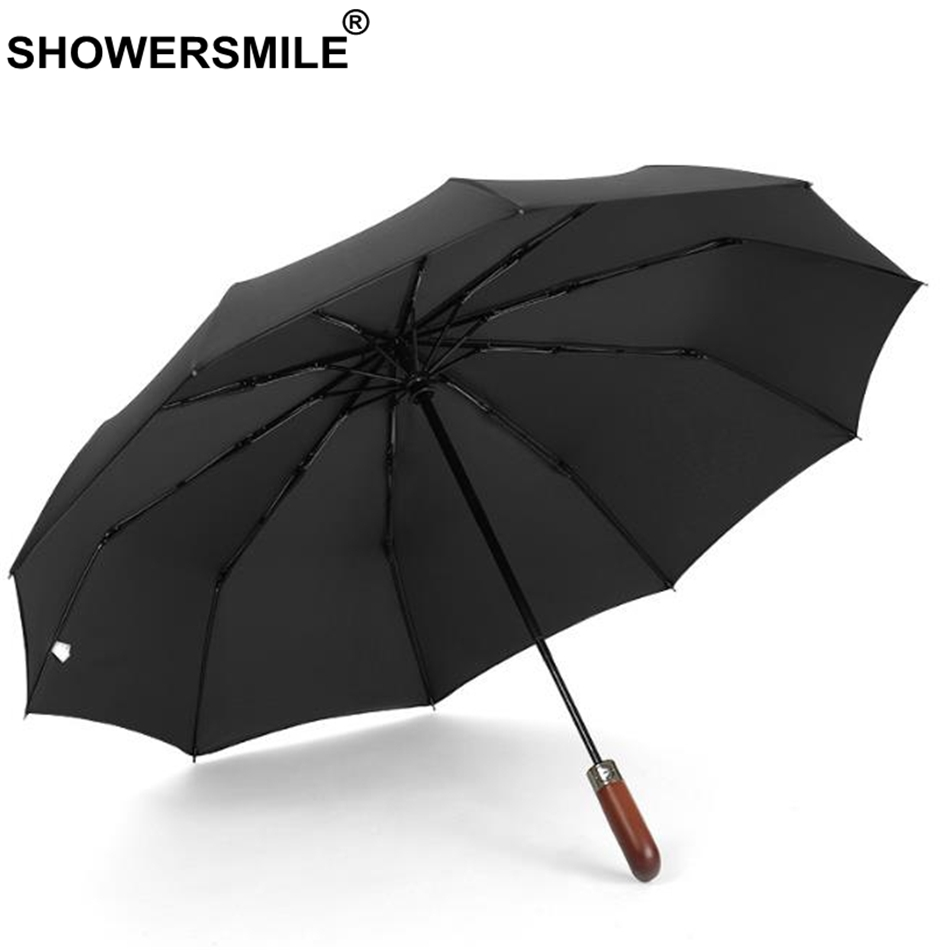 SHOWERSMILE Fully Automatic Umbrellas Black Solid Folding Umbrella For Men Strong Windproof 3 Bumbershoot