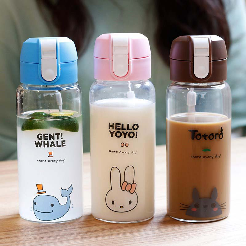 480ML Water Bottle With Bag Leak Proof Glass Drinkware Transparent Fruit Tumbler