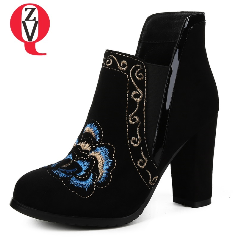 ZVQ 2018 newest fashion round toe super high square heel kid suede women shoes winter warm elastic band embroider ankle boots zvq 2018 new popular kid suede embroider women shoes super high square heel pointed toe zip black winter warm over knee boots