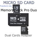 Wholesale 2 Slot Dual Micro SD SDHC TF to Memory Stick MS Card Pro Duo Reader for sony camera PSP Adapter Free Shipping