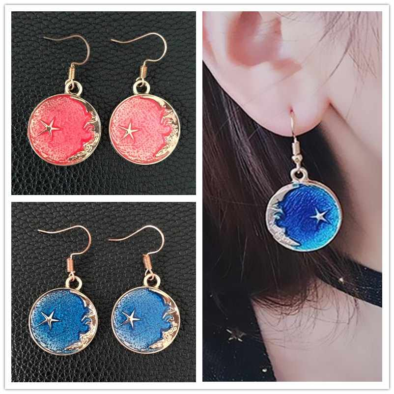 EK2050 Lovely Gorgeous Earth Star Moon Drop Earrings Planet Blue Universe Earrings Women Pendientes Brincos Korean Cute Jewelry
