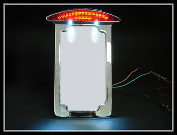Chrome Side Mount Vertical License Plate Holder Bracket Tail Light  for  Harley Custom