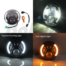 7 «дюймовый круглый светодиодный Halo Фары для автомобиля лампа для uaz4x4 Охотник джунглей светодиодные фары проектор DRL поворотов