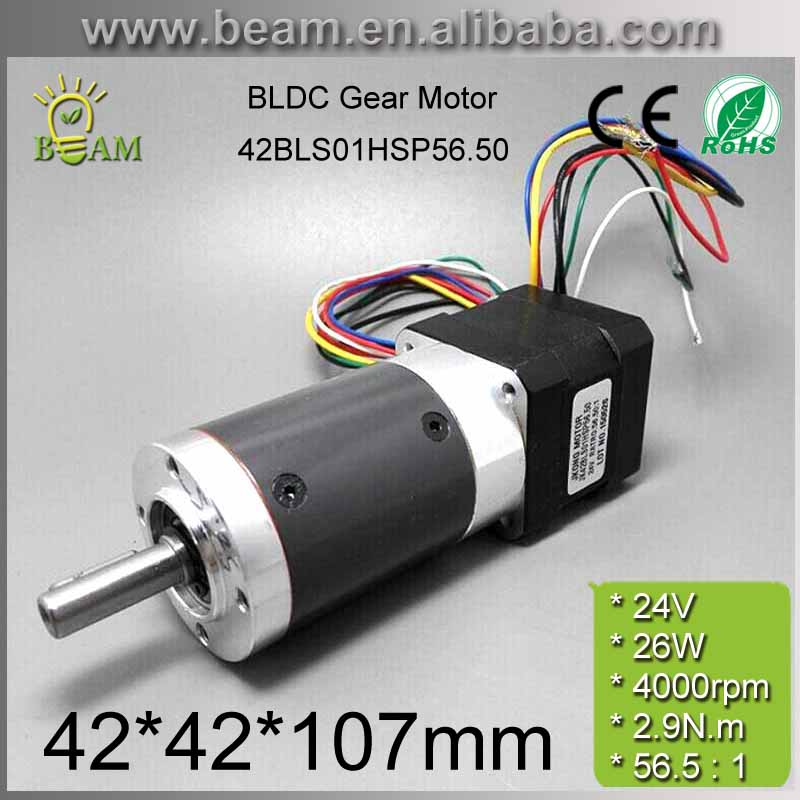 free shipping High Quality 0.3A 24V 2.9N.m 70rpm 42*42*106.9mm Brushless dc motor with planetary gearbox / Reduction Ratio 56.5 free shipping 24v brushless dc centrifugal motor internal drive for planter 1200lpm 150w 8kpa high pressure fan with hall sensor