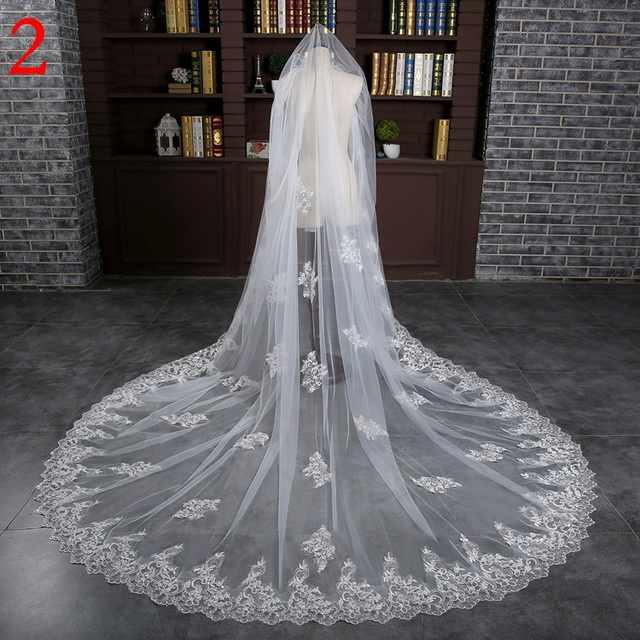 Long Bridal Veils 3-meter One Layer Lace Bride Veil With Comb Elegant Luxury Wedding Accessories High Quality