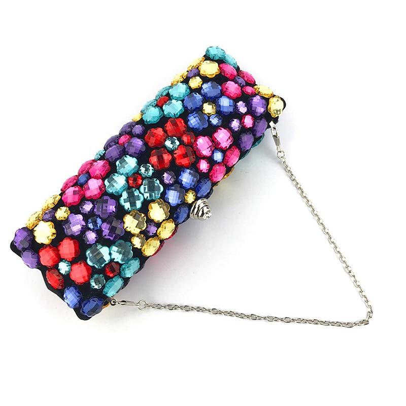 Luxo bolsa de embreagem feminino multicolorido strass