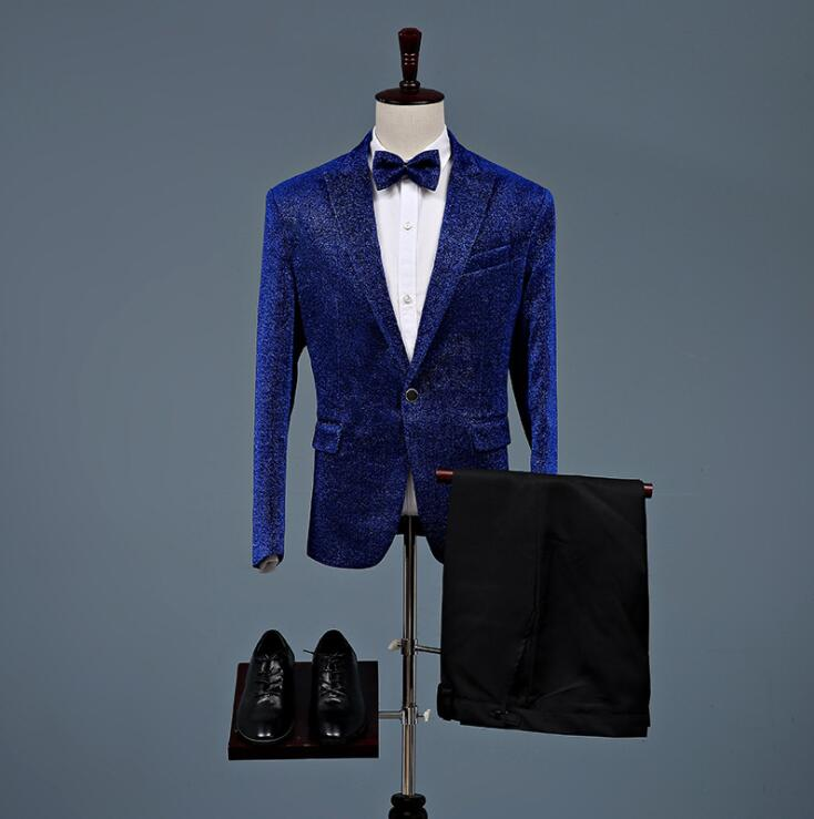 Sequin Clothing Men Groom Suit Set With Pants Mens Wedding Suits Costume Singer Star Style Dance Stage Formal Dress Tie