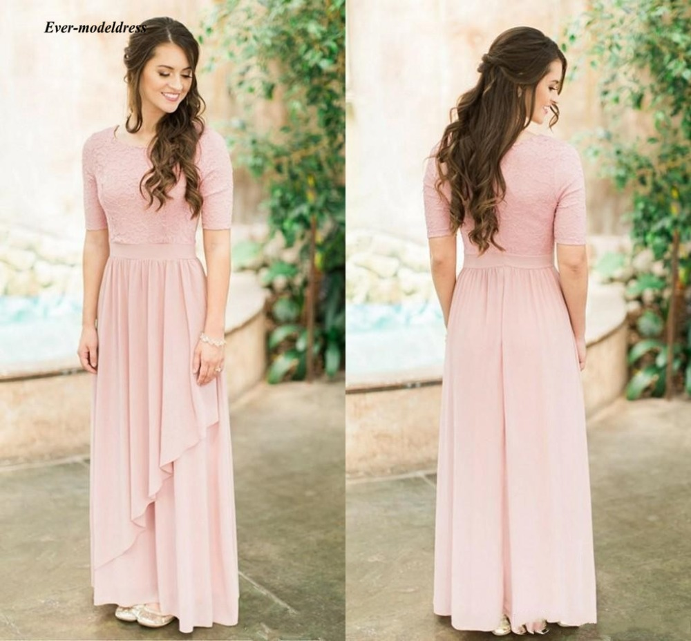 2019 Blush Long   Bridesmaid     Dresses   Half Sleeves O Neck Floor Length Simple Wedding Guest Party Gowns Maid Of Honor Cheap
