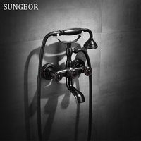 ORB Brass Wall Mount Stand Bathroom Clawfoot Bath Tub Faucet With Handheld Shower Head Cold Hot Mixer Tap Antique Black HS 5587H