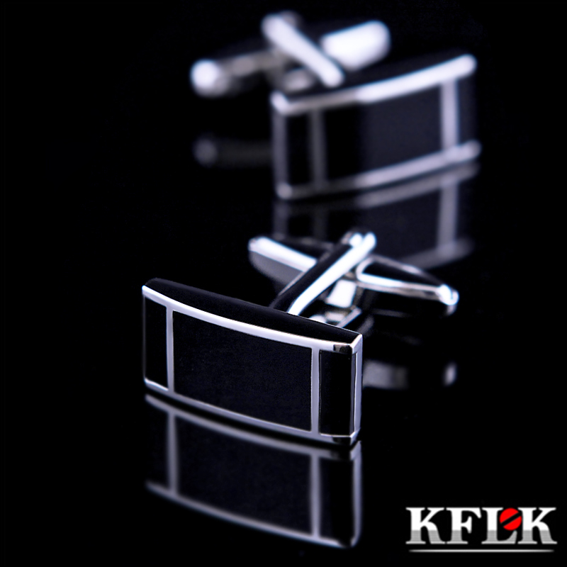 KFLK 2016 De Luxe chemise bouton de manchette pour hommes Marque manchette bouton de manchette manchette lien Haute Qualité gemelos Noir abotoadura Bijoux