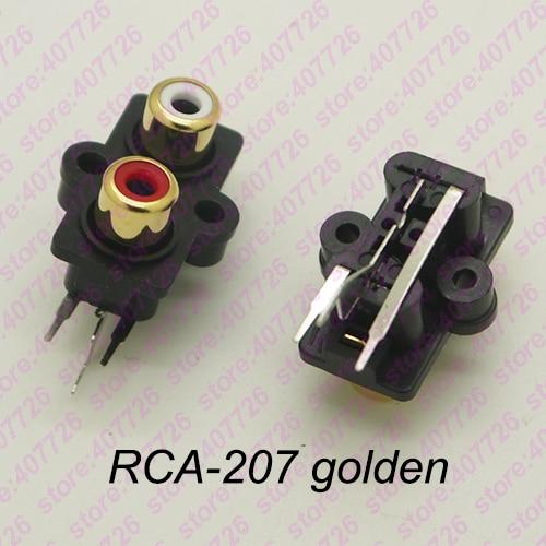(2 Teile/paket) Leiterplattenmontage 1 Position Stereo Audio Video Jack Rca Buchse Zwei Loch (w + R) Rca-207 Goldene