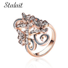 Bohemian Butterfly Alloy Ring Gorgeous Mosaic Rhinestone Rose Gold Color Promise Ring For Women Birthday Gift Jewelry