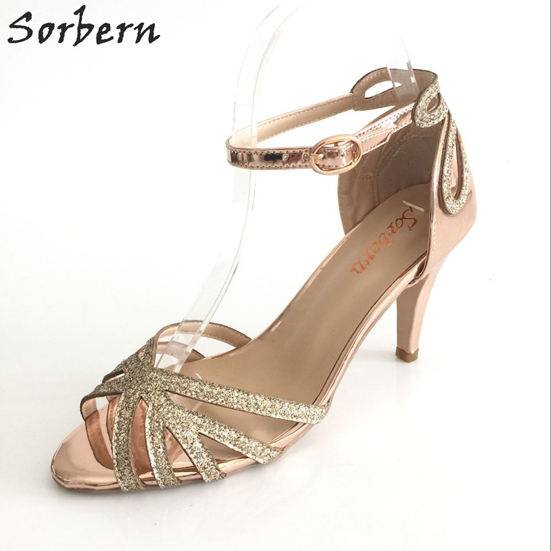 Sorbern Rose Gold 9cm High Heels Wedding Shoes Summer Sandals Glitter Open Toe Straps Shoes Size 33-46 Customized Service