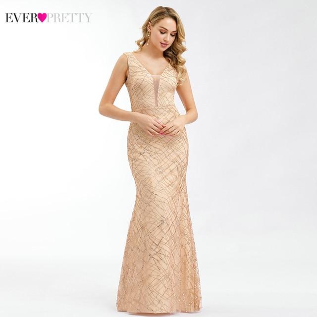 Ever Pretty Rose Gold Prom Dresses V Neck Elegant Evening Party Gowns Sparkle Little Mermaid Dresses Robe De Soiree Paillette