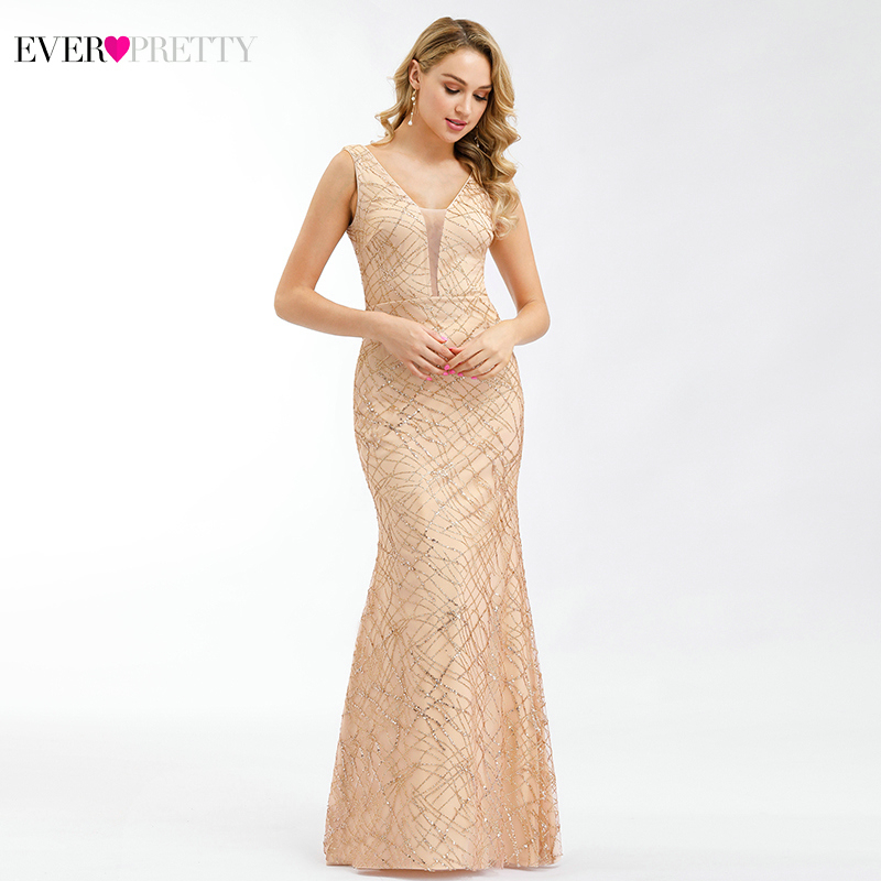 Ever Pretty Rose Gold Prom Dresses V Neck Elegant Evening Party Gowns Sparkle Little Mermaid Dresses Robe De Soiree Paillette