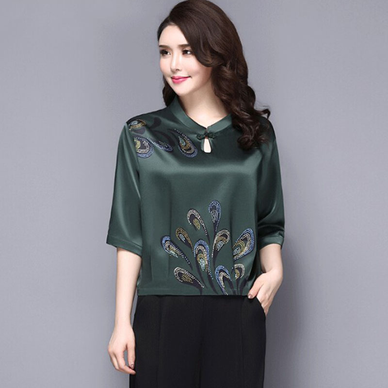 Middle-aged Women Summer Ethnic Vintage Silk Print Top Pullover OL Lady Work Office Wear Plus Size   Blouse     Shirt   Tops Blusa 5XL