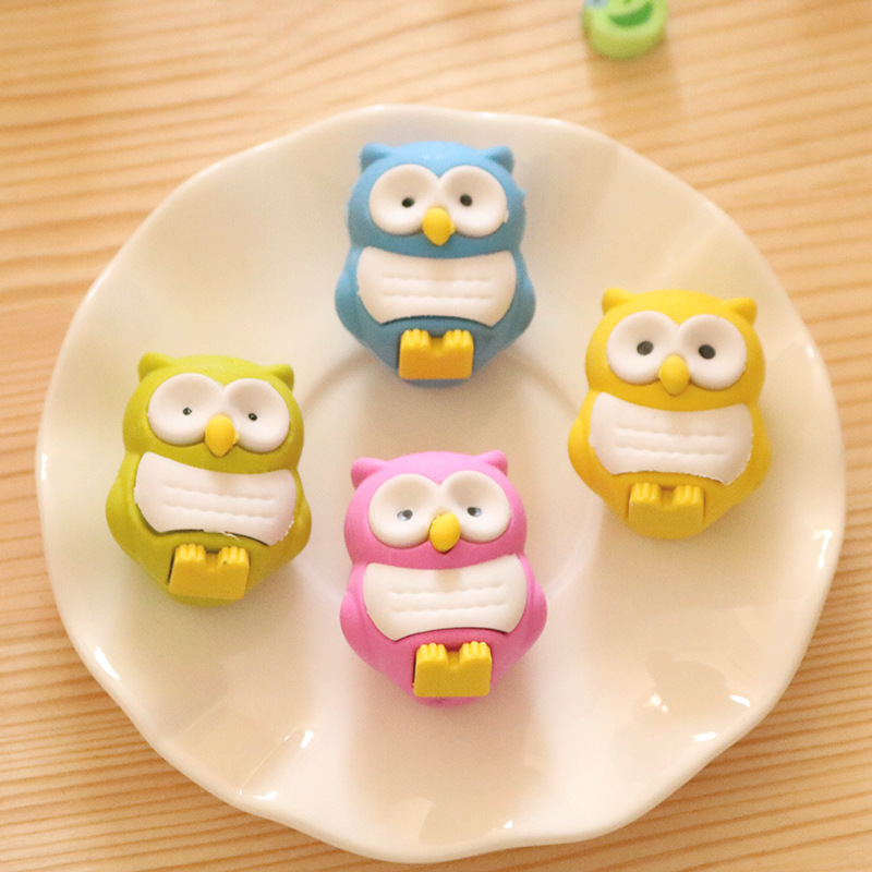 2pc Kawaii Cute Colored Owl Rubber Eraser Creative Stationery School Office Supply Artist Drawing Pencil Erasers Kids Toys Gift