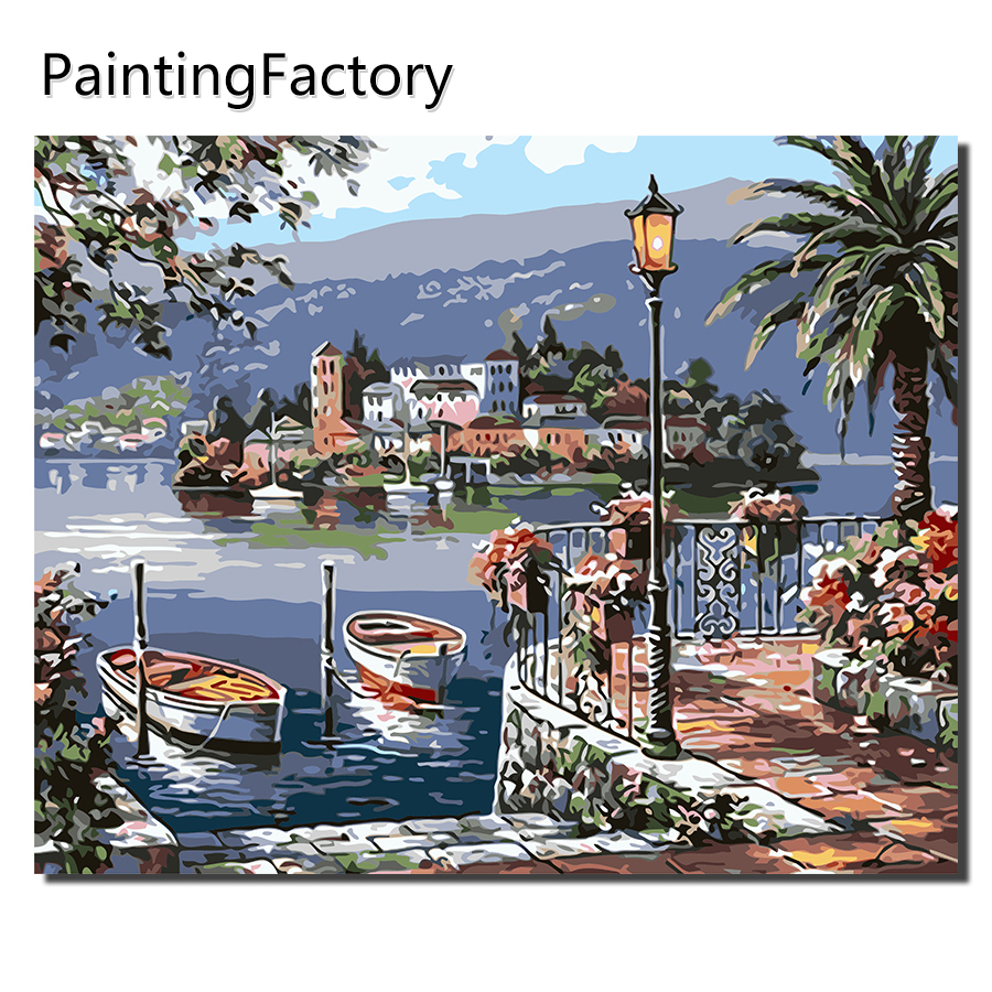 Meer stadt landschaft malerei durch zahlen diy ölgemälde für wohnzimmer decor malerei durch anzahl stadt malerei factoryVA0023