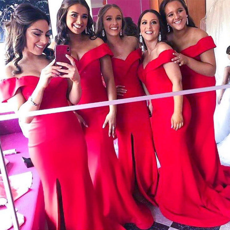 Sexy Mermaid Off The Shoulder Red   Bridesmaid     Dresses   Satin Front Split   Dresses   For Wedding Party Prom Vestido de festa longo