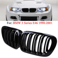 1 pair High quality Car Front Grilles 2 Door 2D Coupe Gloss Black Dual Slat Kidney Grille Cover for BMW E46 1998 1999 2000 2001
